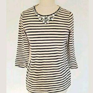 J.Crew Women X-Small Navy Striped Stone Shirt